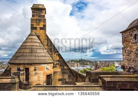 Edinburgh Scotland - July 28 2012: The city seen from the Argyle Tower of the Edinburgh castle