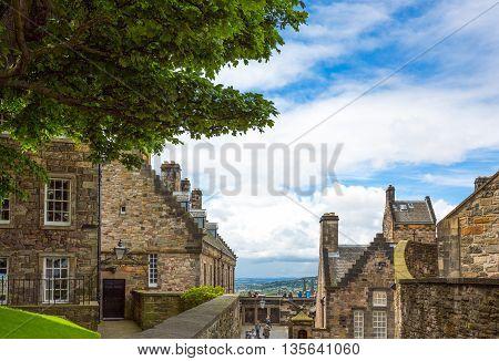 Edinburgh Scotland - July 28 2012: Medieval houses in the Edinburgh castle.