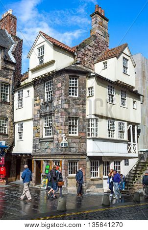 Edinburgh Scotland - July 28 2012: Royal Mile Canongate the John Knox house.