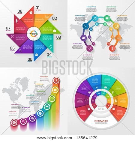 Set of four vector infographic templates. Business education industry science concept with 8 values options parts steps processes.