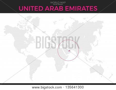 United Arab Emirates location modern detailed vector map. All world countries without names. Vector template of beautiful flat grayscale map design with UAE border location