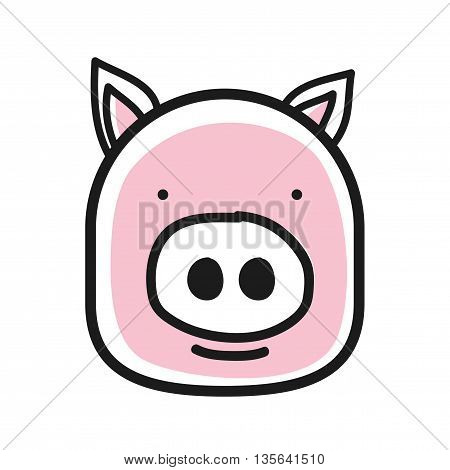 Cartoon animal head icon. Pig face avatar for profile of social networks. Hand drawn design