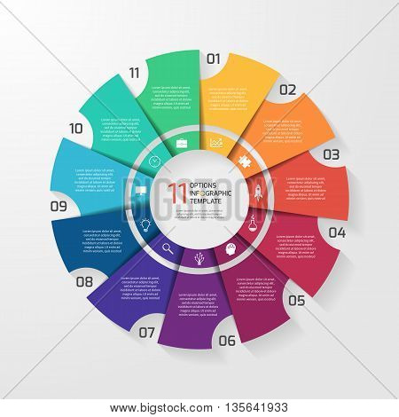 Vector circle infographic template for graphs charts diagrams. Pie chart concept with 11 options parts steps processes.