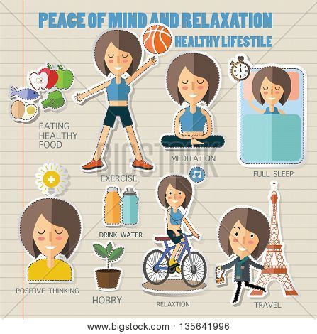 peace mind and relaxation.healthy lifestyle eps 10 format