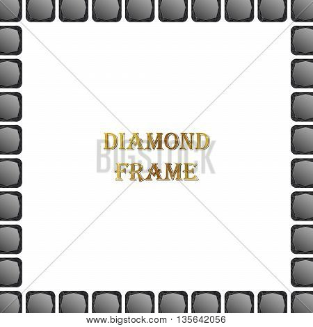 Black diamond square frame. Vector jewerly background and place for your text. Abstract diamond border