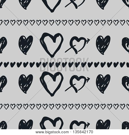Doodle seamless pattern with hearts. Hand-drawn black and white heart vector background. Seamless heart pattern. Valentine day background