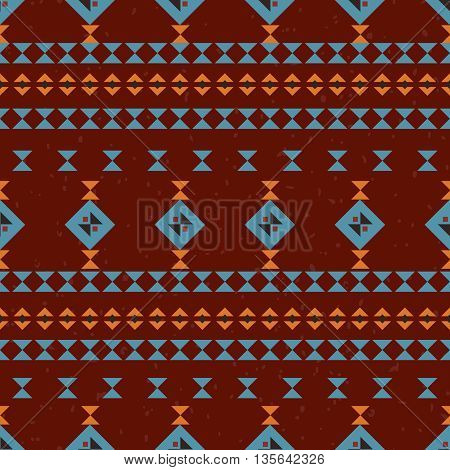 Geometric ethnic seamless pattern. Abstract red aztec background