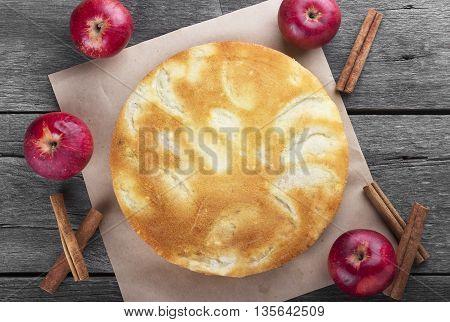 Apple Biscuit Pie On A Dark Wooden Background