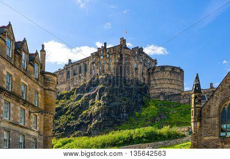 Edinburgh Scotland - June 19 2012: The Castle seen from the Grassmarket area.