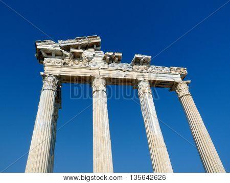 Ruins, Greek columns of ancient Side, Turkey