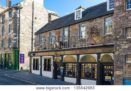 Edinburgh Scotland - June 19 2012: The Bobby's Bar in the Candelmaker row Greyfriars area