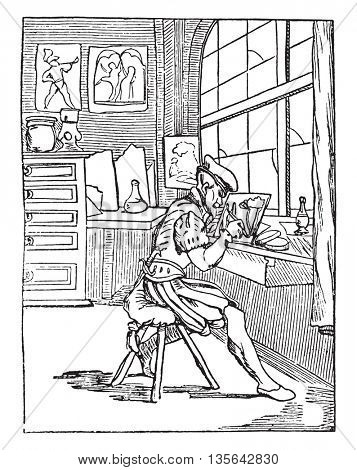 The glass Painter, Vitripictor, vintage engraved illustration. Magasin Pittoresque 1836.