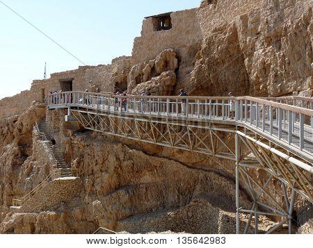 Masada Israel - October 13 2009: Main entrance to Masada citadel Israel