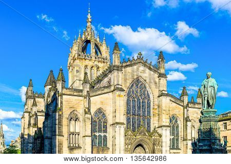 Great Britain Scotland Edinburgh Royal Mile the St Giles Cathedral and the monument to the Duke Queensberry.