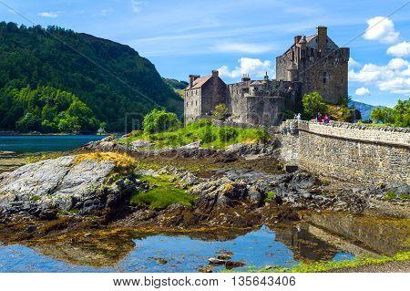 Lochash Scotland - June 20 2012: Highlands the Eilean Conan castle.