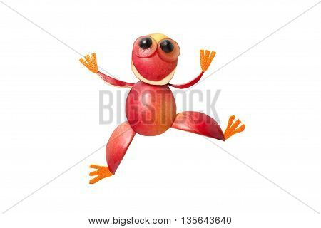 Frog in funny pose made of red apple on isolated background