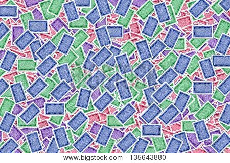 Colorful Playing Cards as Background. Digital painting illustration back texture of colorful playing cards