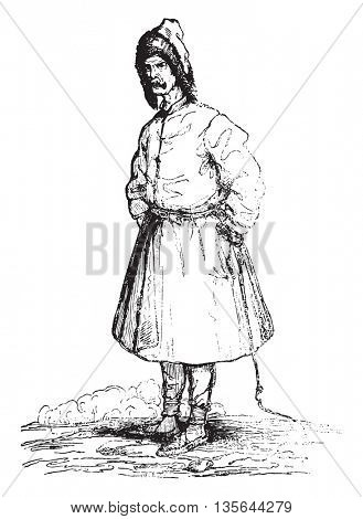 Winter suit of a Lithuanian, vintage engraved illustration. Magasin Pittoresque 1836.
