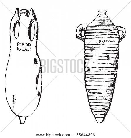 Amphorae, vintage engraved illustration. Magasin Pittoresque 1836.