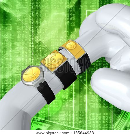 Multiple Smart Watches Showing Currency 3D Illustration