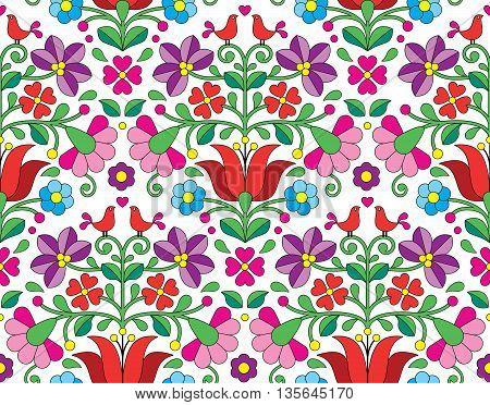 Kalocsai floral emrboidery seamless pattern - Hungarian folk art background