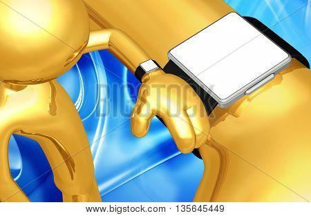 Using Smart Watch Concept Blank Sceen 3D Illustration