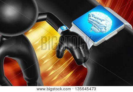 Using Smart Watch Concept 3D Illustration