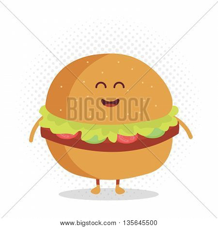 Kids restaurant menu cardboard character. Template for your projects, websites, invitations. Funny cute burger drawn with a smile, eyes and hands.