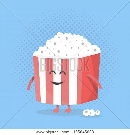 Big popcorn box face. Character with legs and hands. Cinema icon Flat design style. Vector illustration