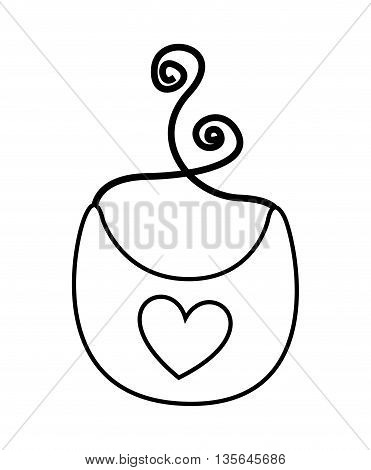 baby bib with heart isolated icon design, vector illustration  graphic