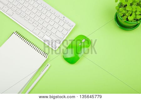 Wireless Slim White Keyboard And Green Mouse, Notepad, Flower On Green