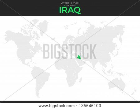 Republic of Iraq location modern detailed vector map. All world countries without names. Vector template of beautiful flat grayscale map design with selected country and border location