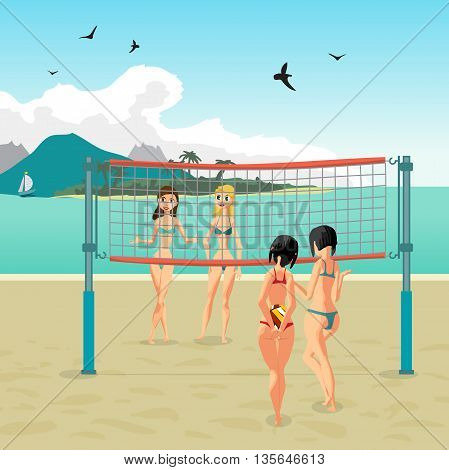 Four girls playing volleyball on the beach. Beach volleyball, net, women in bikinis. Flat cartoon vector illustration. Start the game, the girl holding the ball behind his back