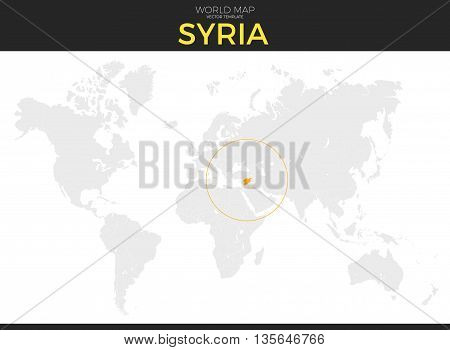 Syrian Arab Republic Syria location modern detailed vector map. All world countries without names. Vector template of beautiful flat grayscale map design with selected country and border location