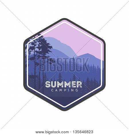 Summer camping label. Hiking family vacation in the mountains and forest. Conifers panorama. Tourism Trips banner