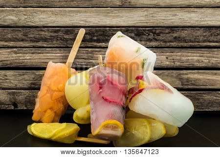 Popsicles, Frozen Fruits, On Wooden Background