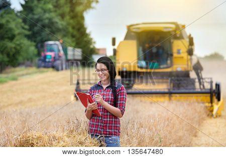 Famer Girl Working On Field
