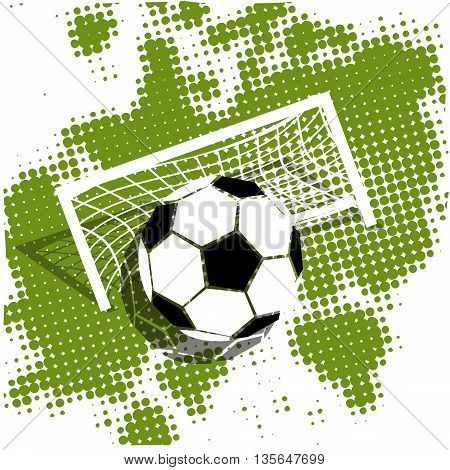 Illustration Soccer ball on a green background