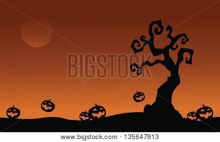 Halloween pumpkins and dry tree vector illustration