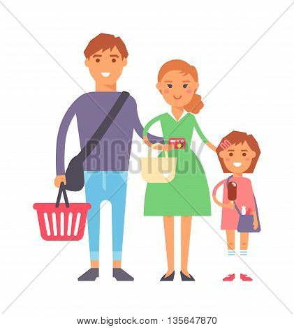Happy family portrait in supermarket shopping together vector characters. Shopping family fun together and cartoon family joy together. Parent leisure cheerful portrait family.