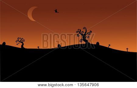 Halloween witch flying in tomb silhouette scnery illustration