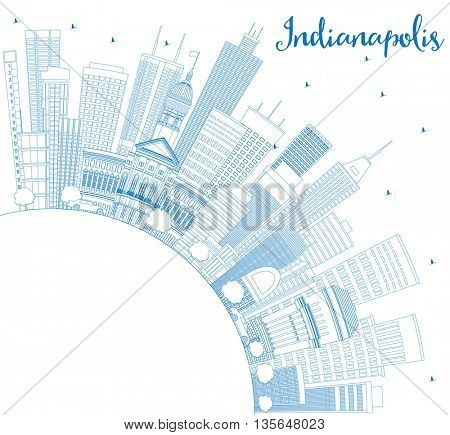 Outline Indianapolis Skyline with Blue Buildings and Copy Space. Business Travel and Tourism Concept with Modern Buildings. Image for Presentation Banner Placard and Web Site.