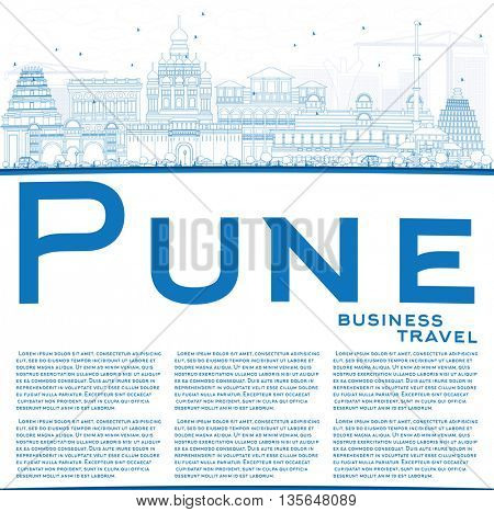 Outline Pune Skyline with Blue Buildings and Copy Space. Business Travel and Tourism Concept with Historic Buildings. Image for Presentation Banner Placard and Web Site.