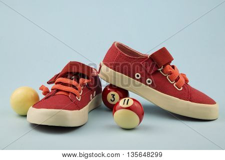 overhead of summer shoes for little girl