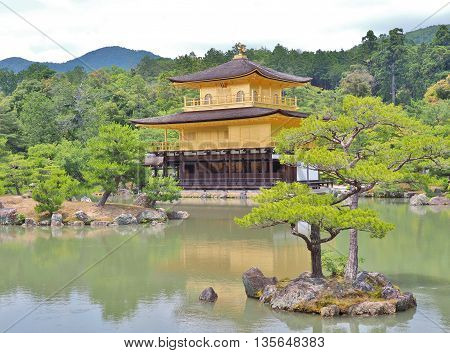 Golden pavilion at Kinkaku-ji temple in Kyoto, Japan. Kinkakuji temple is famous tourist attraction in Japan.