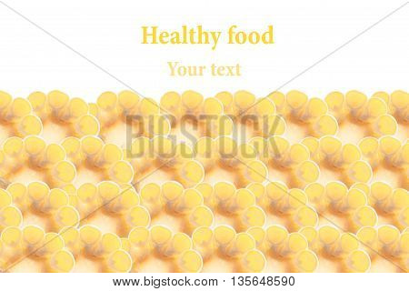 Sliced corn cobs on a white background. Isolated. Decorative frame. Macro. Food background. Copy space. Concept art.
