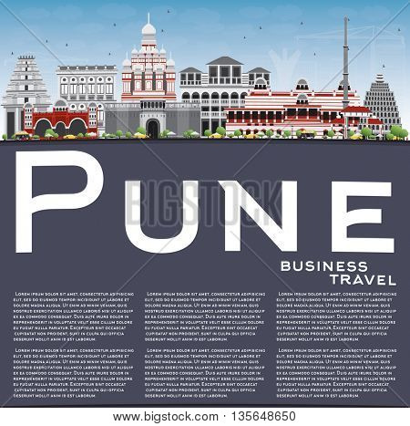 Pune Skyline with Color Buildings, Blue Sky and Copy Space. Business Travel and Tourism Concept with Historic Buildings. Image for Presentation Banner Placard and Web Site.