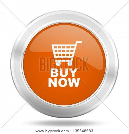 buy now vector icon, metallic design internet button, web and mobile app illustration