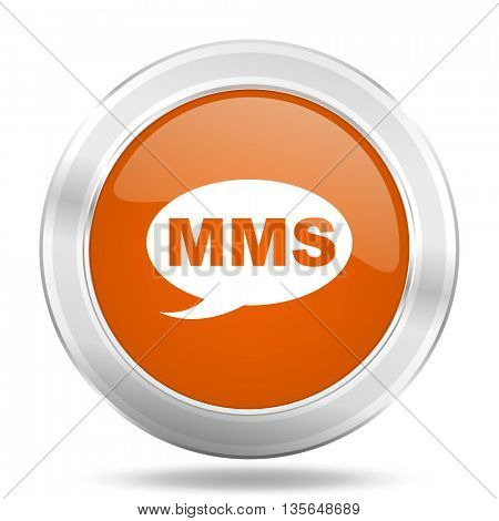 mms vector icon, metallic design internet button, web and mobile app illustration