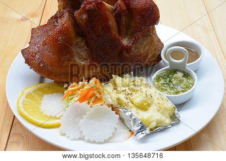 close up Deep fried pork knuckle for dinner.